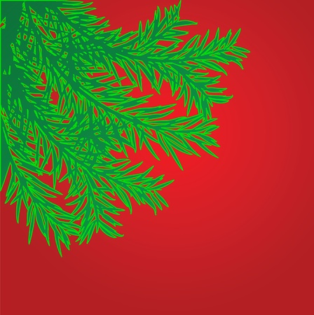 The fir-tree branch on the red background Stock Vector - 10436414