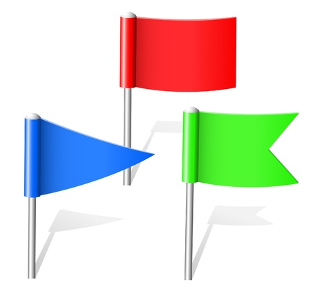 red pin: Color flag pins. Vector.