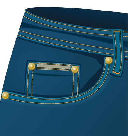 seams: The front part of a jeans Illustration