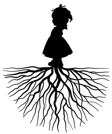 seedling growing: The silhouette of a girl with root Illustration