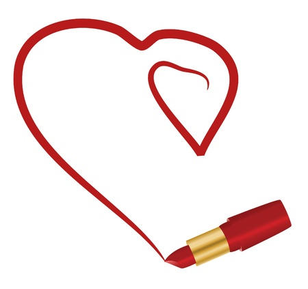 lipstick tube: Red tube  lipstick and two hearts