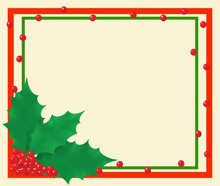 The background with leafs and berries of holly Stock Vector - 10436410