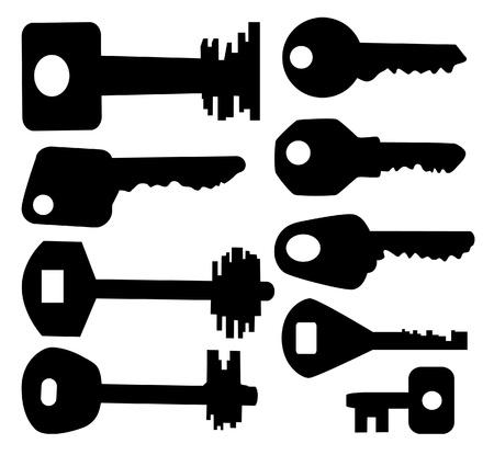 The black silhouette of keys. Set. Stock Vector - 10436311