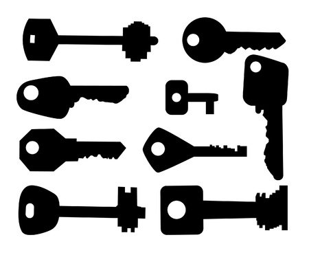 objects equipment: The black silhouette of keys. Set.