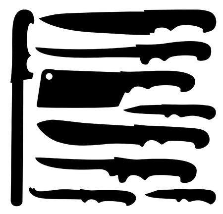 small group of objects: The black silhouette knifes.