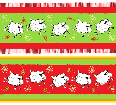 The seamless of sheeps ornament Vector