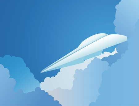 The background from paper plane in a sky Stock Vector - 10436333