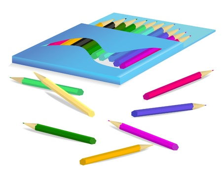 Pensil box with color pensils. Illustration