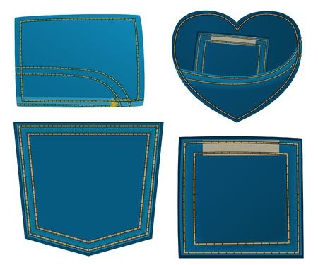 The jeans design element set Vector