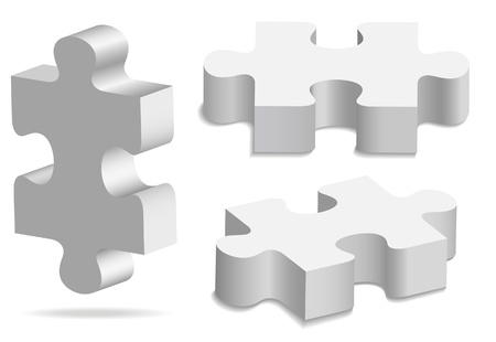 art piece: The three white volume puzzles Illustration