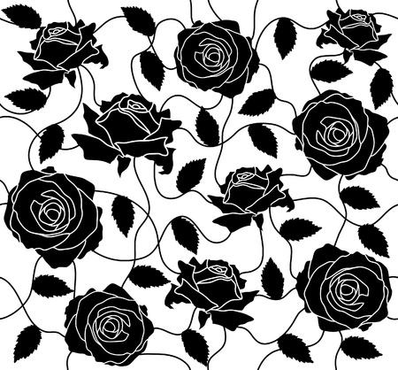 검은 장미와 잎의 원활한 일러스트