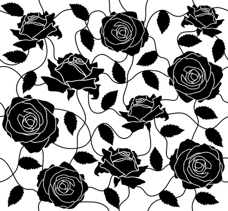draftsmanship: The seamless of a black roses and leafs Illustration