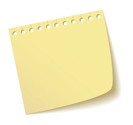 yellow note: The sheet of a notebook