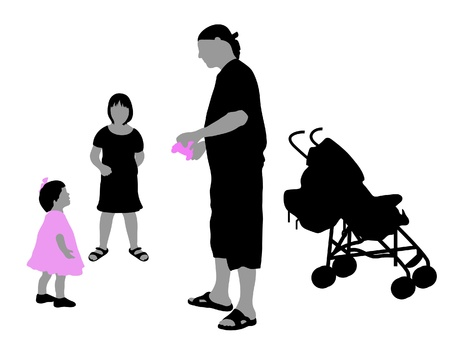 The silhouettes of family Vector