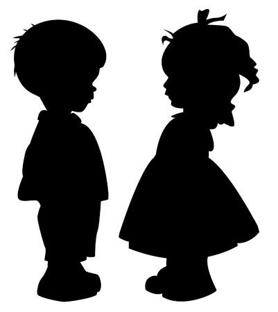 kinderen: De twee silhouet van een jongen en meisje