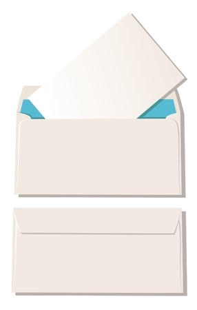 De open envelop met brief en enveloppe dicht