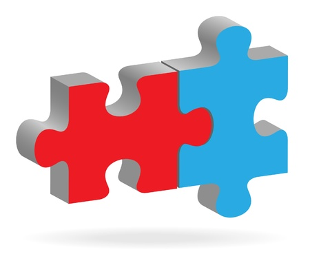 business partnership: The two connected  puzzles
