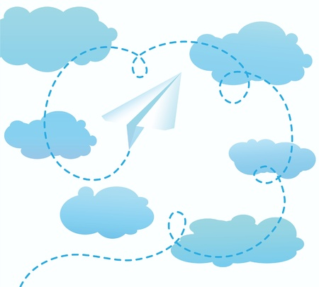 storm cloud: The paper airplane flying to the sky Illustration