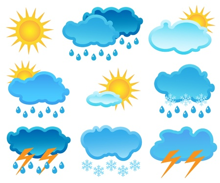 hailstorm: The icon set  of a weather Illustration
