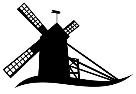 barn black and white: The silhouette of windmill Illustration