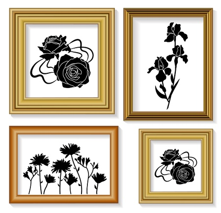 garden wall: The frames for picture with floral ornaments
