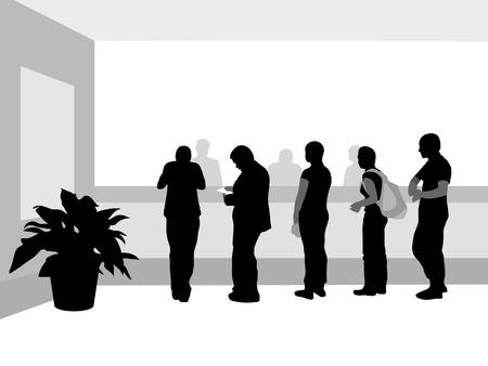 adentro y afuera: Personas est�n en una fila cerca de recepci�n de efectivo Vectores