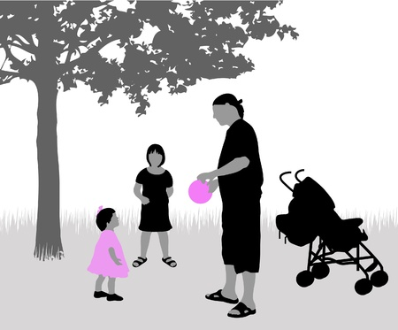 black lady talking: The father plays with children the nature