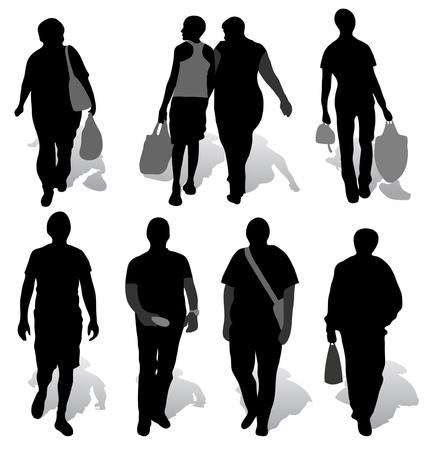 Les silhouettes d'un peuple avec des ombres Vecteurs
