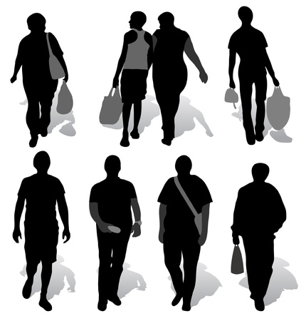 The silhouettes of a people with shadow Vector