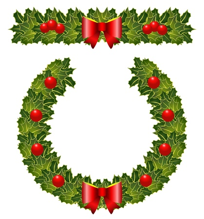 The christmas holly garland and wearth Illustration