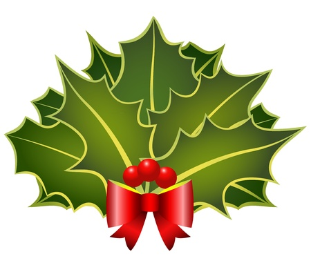 The christmas holly leafs with red bow and berries Vector