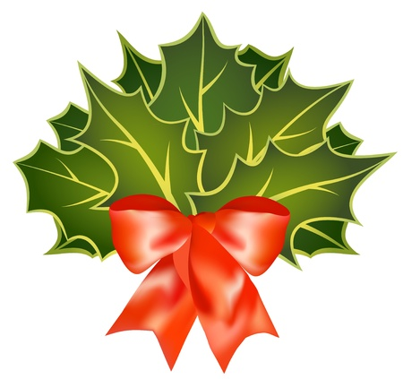 The christmas holly leafs with red bow  Illustration
