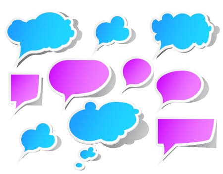 thoughts: Set of colorful, peeling speech bubbles