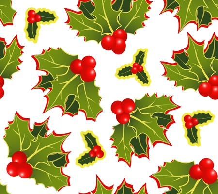 The christmas holly seamless pattern Stock Vector - 10969949