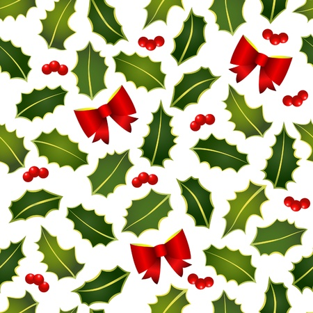 The christmas holly seamless Stock Vector - 10969948