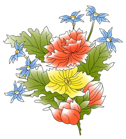 draftsmanship: The bunch of a red, yellow, blue flowers