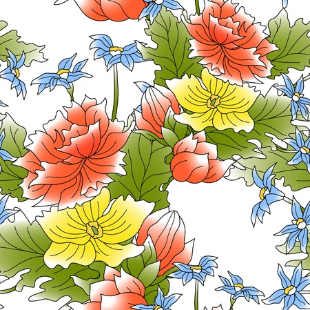 The seamless of a red, yellow and blue flowers and green leafs photo