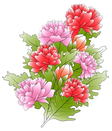 The bunch of a peonies and green leafs Vector