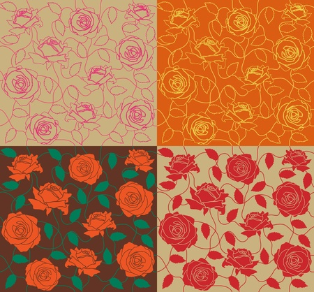 draftsmanship: The four seamless of a color roses and leafs Illustration