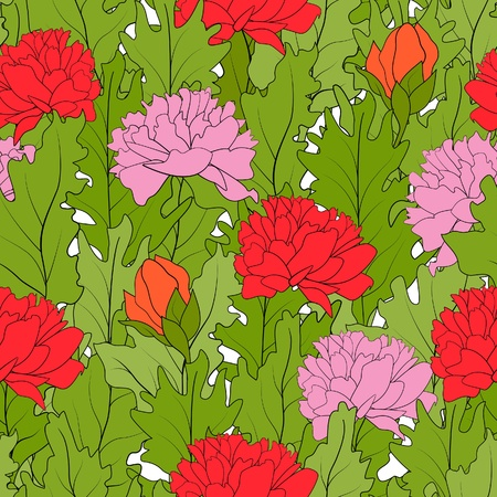 The seamless of a color peonies and green leafs Vector