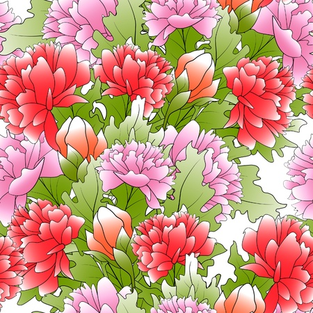 draftsmanship: The seamless of a color peonies and green leafs Illustration