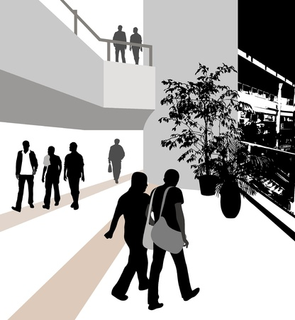 The illustration of the people in the building illustration