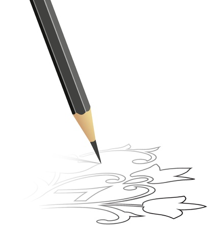 sharp curve: The sketch drawn by a pencil Stock Photo