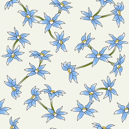 draftsmanship: The seamless of a blue flowers