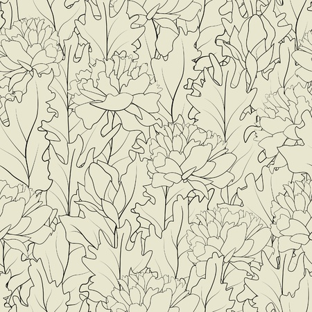 The seamless of a outline peonies and  leafs Vector