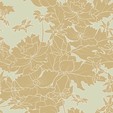 The seamless of a outline flowers and  leafs Vector