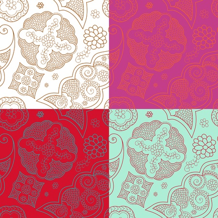 The four indian henna ornament seamless Vector