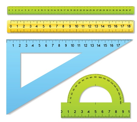 protractor: The three rulers and one protractor Illustration