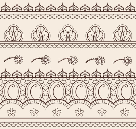 traditionally indian: The indian henna ornament seamless Illustration