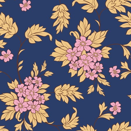 textile image: The pink flower and yellow leafs on dark blue background. Seamless Illustration